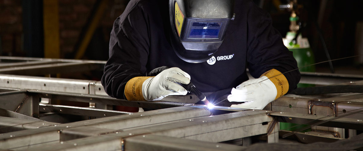A welder welding at P.P. Group